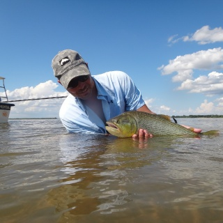 Appreciating his release on the flats. Golden Fly Fishing-Argentina.