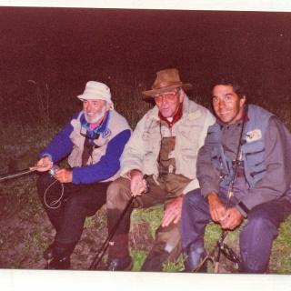 Mel Krieger, Jorge Donovan y Mario Lussich en Puerto Lussich la ultima vez que pescaron juntos.