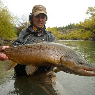 """Arroyo Verde Lodge and Traful River , a place hard to explain with words"" by Miguel Angel Marino. Brown Trout 37 inches."