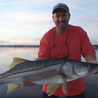Andy with a 35 # Snook in 2 feet of water on a big popper