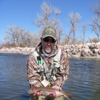 Clients 1st big rainbow from the Pueblo Tailwater (Arkansas River)