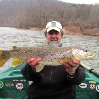 "Guide Mike P. with a 24"" Brown on the Delaware!"