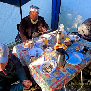 Breakfast at SouthernLoops Fly Fishing Riverside Camp.