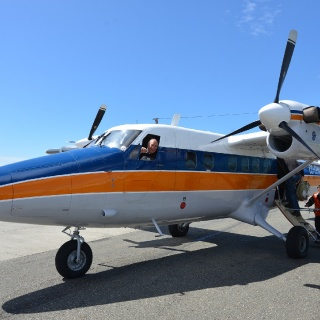Twin engine fixed wing aircraft connection from Punta Arenas, Chile - Going to Lakutaia Lodge