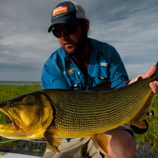 Felipe Morales with a Big Golden Dorado - Pira Lodge