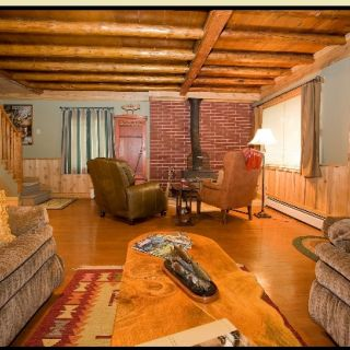 The rustic Ruby Valley Lodge interior. A great vacation rental that sleeps six.