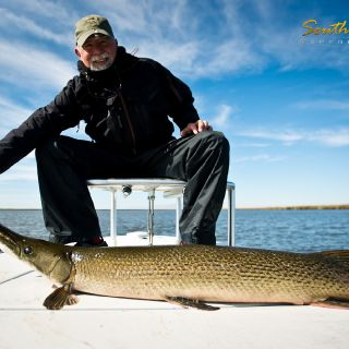 Alligator gar can also be sight fished on fly and they can get even bigger!