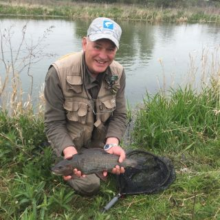 A stunning 3.8lbs Grayling for guest Barry P.