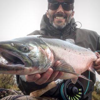 Single and two-handed fly fishing for Alaska salmon.