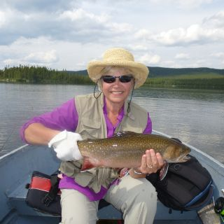 "Igloo Lake lodge ""happy guest"" with a Large Brook Trout in Labrador"