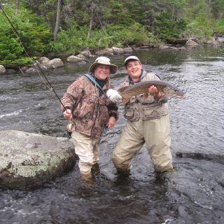 Stream fishing for Pike at Igloo Lake Lodge Labrador