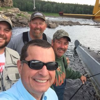 Jim & guests and guide at Upper Eagle River in 2016 - outstanding remote Atlantic Salmon fishing!