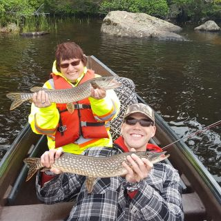 Mom & Son - double hook-up on Pike at Igloo Lake Labrador 2016