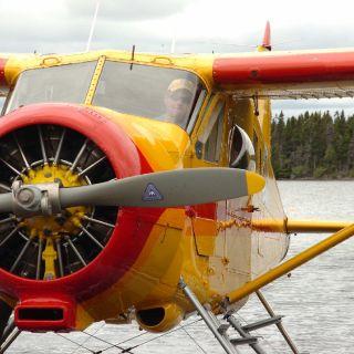 Jim (Owner of igloo Lake lodge) in his 1951 DeHavilland Beaver floatplane (mint condition).