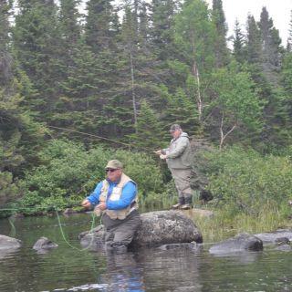 Cuming brothers stream fishing at Igloo Lake Labrador