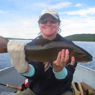 Denise with a huge Igloo Lake Brookie in 2016