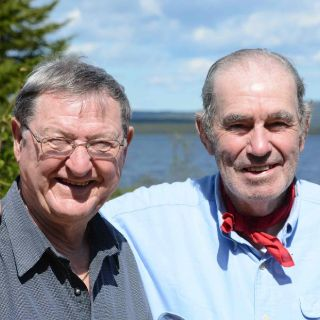 """Vince Burton """"Left"""" (pioneer Labrador Outfitter ) with friend John who has been to Igloo Lake 17 times!"""