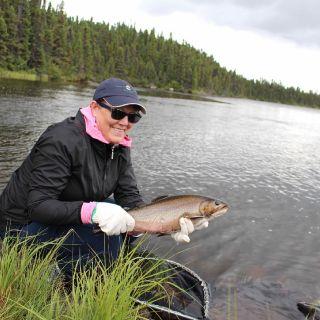 Releasing a nice Igloo Lake brook trout
