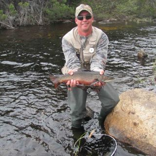 Stream fishing for Brook Trout at Igloo Lake Lodge in Labrador