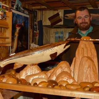 Denis Abrard carved this beautiful Atlantic Salmon - we'll proudly display in our dining room at Igloo Lake Lodge this summer.