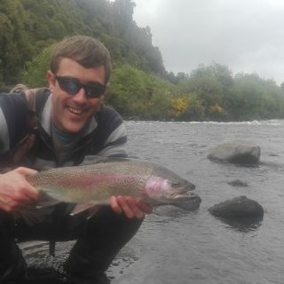 Murray Smith very happy with the first fish for the day,