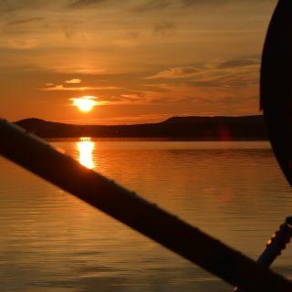 Sunset at beautiful Igloo Lake Lodge Labrador