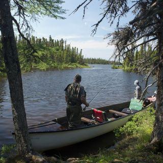 Stream fishing at Igloo Lake Lodge Labrador
