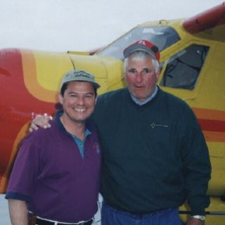 Coach Knight with Jim at Igloo Lake Lodge