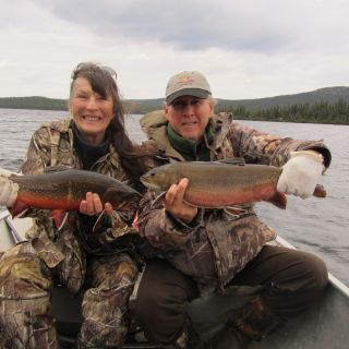 Double hitter - brook trout Igloo Lake Labrador