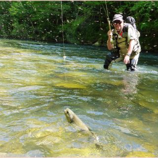 Fly fishing on the footstep of Ernest Hemingway , rio Irati in spanish Navarra.