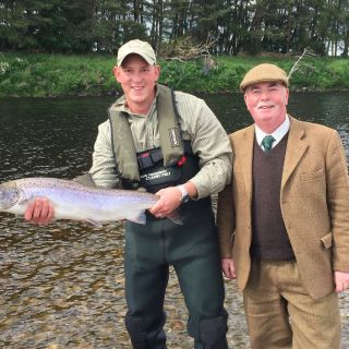 A client with his first salmon.