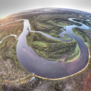 This is an aerial view of our location on the Alagnak River