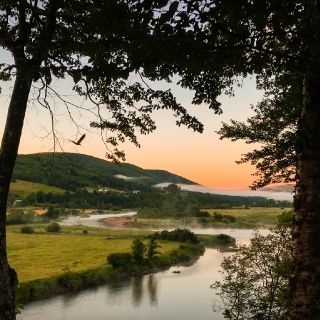 Early morning driving to the pools, Margaree river.