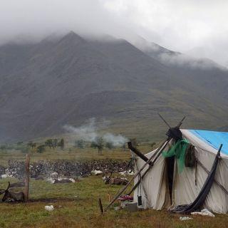 Summer reindeer herders camp in Yakutia