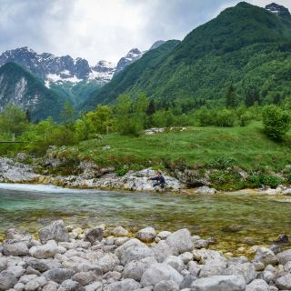 The valley of the Soca river, Alps behind