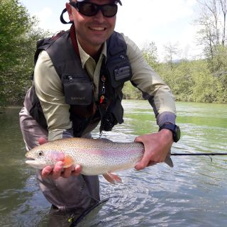 Sava Bohinjka April month.. streamer was needed for this one to go on the move!
