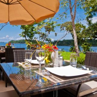 Our outdoor dining area at Come Fish Panama