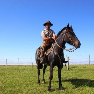 """El """"baqueano"""", el caballo y el perro."""