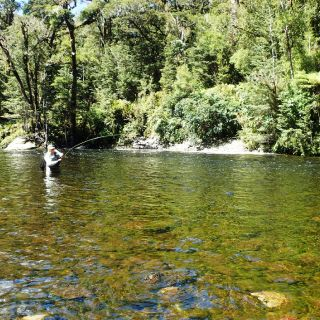 Back-country fly fishing on the Wapiti River in Fiordland.