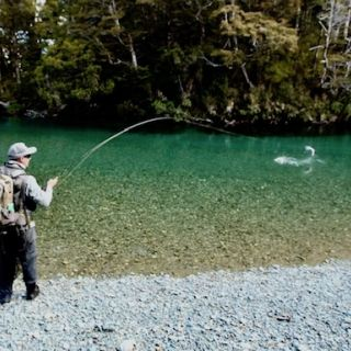 Angler Nick Reygaert (CEO GinClear Media) Hooked up on a solid fish Fiordland Large Rainbow Trout South Island  New Zealand Guide: Chris Reygaert