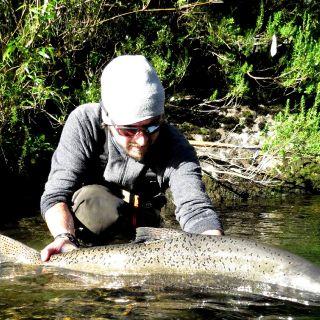 Guiado de pesca salmón Chinook en Patagonia Chilena - Paquetes semanales - caña de una y dos manos