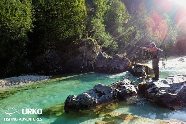 Will from Precision Fly and Urko Fishing Adventures Team at the upper Soča River