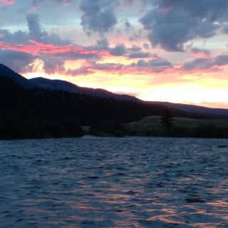 Sunset on an evening half day float trip down the Madison River