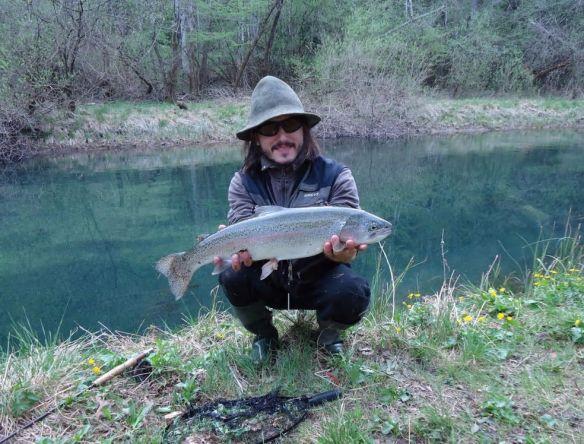 Fly fishing in Slovenia on a secret river not so far from capital city Ljubljana.