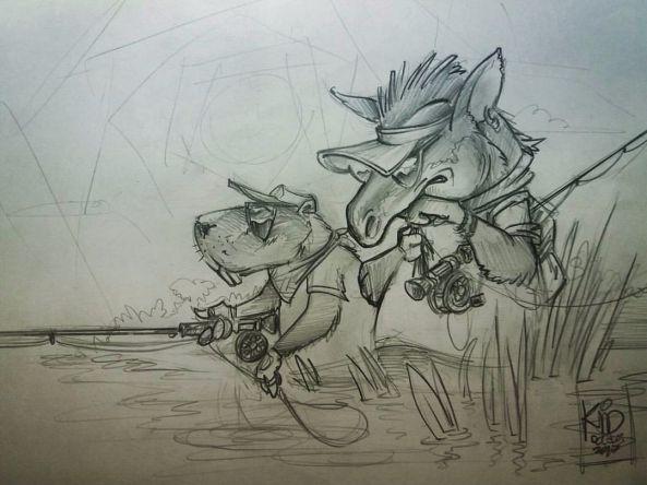 Bicho pescando... rabiscos ainda.