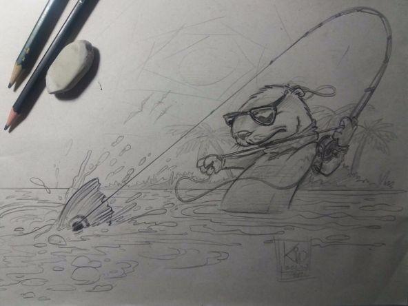 Bicho pescando... Ariranha no fly! Rabiscos ainda.✌ #ArtesKidOcelos