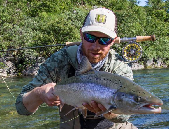 Hard fighting Atlantic salmon on light gear