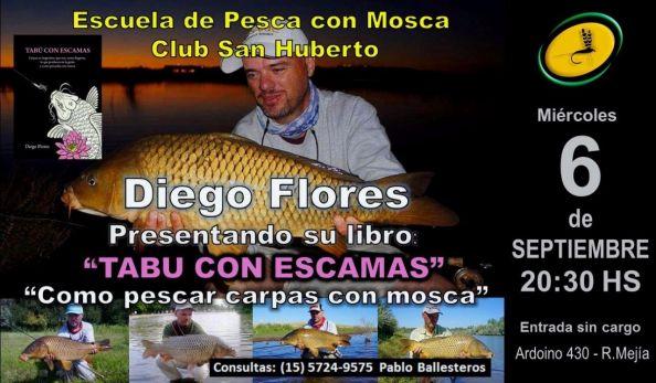 Miércoles 6.  Diego Flores presentando su libro TABÚ CON ESCAMAS