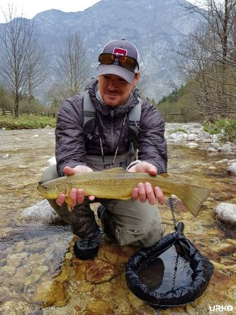 Dani with his marble trout.