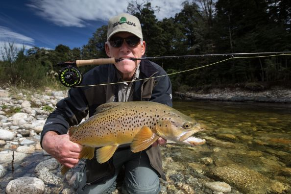 Client Bob (USA) Fiordland Large Brown Trout South Island  New Zealand Guide: Chris Reygaert